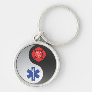 firefighter emt ying yang Silver-Colored round keychain