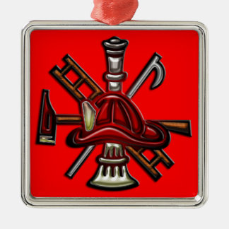 Firefighter Fire and Rescue Department Emblem Metal Ornament