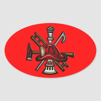 Firefighter Fire and Rescue Department Emblem Oval Sticker