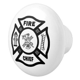 Firefighter Fire Chief Ceramic Knob