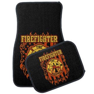 Firefighter Fire Department Badge and Flag Car Mat