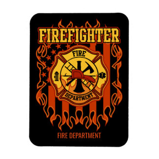 Firefighter Fire Department Badge and Flag Rectangular Photo Magnet