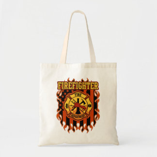 Firefighter Fire Department Badge and Flag Tote Bag