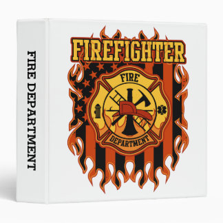 Firefighter Fire Department Badge and Flag Vinyl Binder