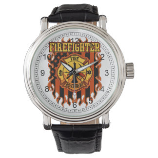 Firefighter Fire Department Badge and Flag Watches