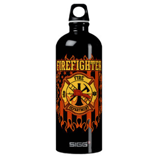 Firefighter Fire Department Badge and Flag Water Bottle