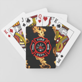 Firefighter | Fire Department Flames Red Shield Playing Cards