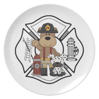 Firefighter Fire Dept Bear Plate