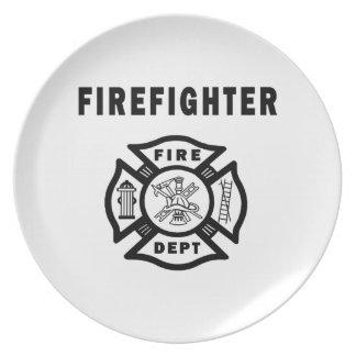 Firefighter Fire Dept Logo Party Plate