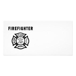Firefighter Fire Dept Logo Customized Photo Card