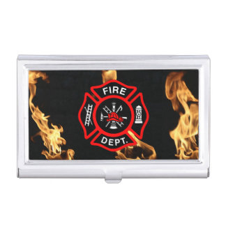Firefighter Fire Dept Maltese Cross for Firemen Business Card Holder