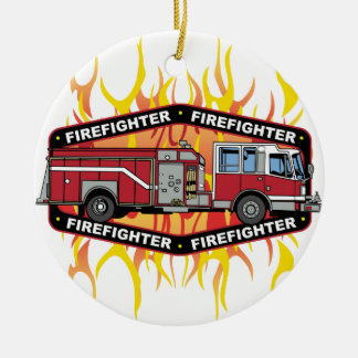 Firefighter Fire Truck Ceramic Ornament