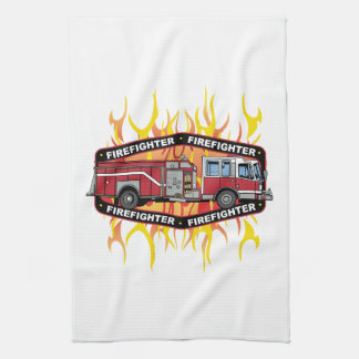 Firefighter Fire Truck Kitchen Towel