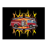 Firefighter Fire Truck Post Card