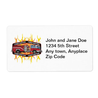 Firefighter Fire Truck Shipping Label