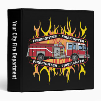 Firefighter Fire Truck Vinyl Binders