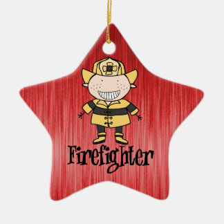 Firefighter Fireman on Red Ceramic Ornament