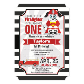 Firefighter; Firetruck Birthday Party Card