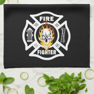 Firefighter Flaming Skull Kitchen Towel