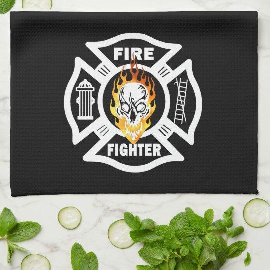Firefighter Flaming Skull Kitchen Towel