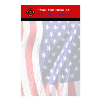 Firefighter Gift American Flag | Maltese Cross Stationery