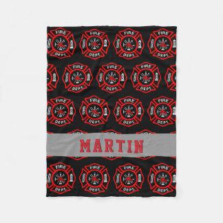 Firefighter Gift Maltese Cross Name Fleece Blanket
