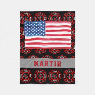 Firefighter Gift Maltese Cross USA Flag Name Fleece Blanket
