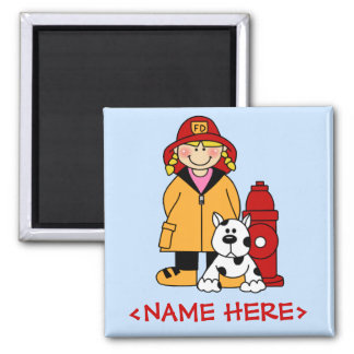 Firefighter (Girl) Square Magnet