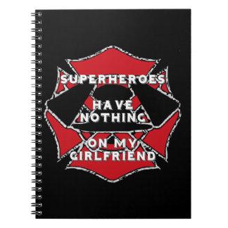 Firefighter girlfriend spiral notebook