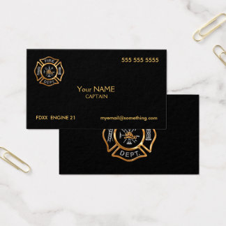 Firefighter Gold Business Card