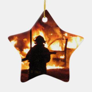Firefighter Handline Ceramic Star Ornament
