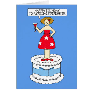 Firefighter happy birthday. card