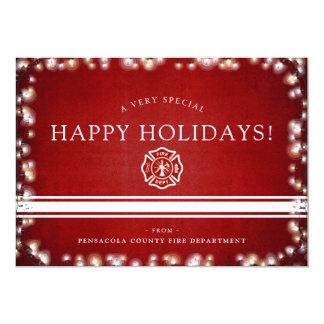 FireFighter Happy Holidays | Christmas Custom Flat Card