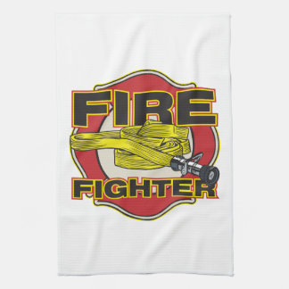 Firefighter Hose and Shield Kitchen Towel