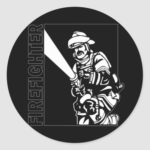 Firefighter in Black and White Sticker