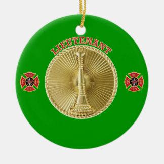 Firefighter Lieutenant's Gold Bugle Medallion Ceramic Ornament