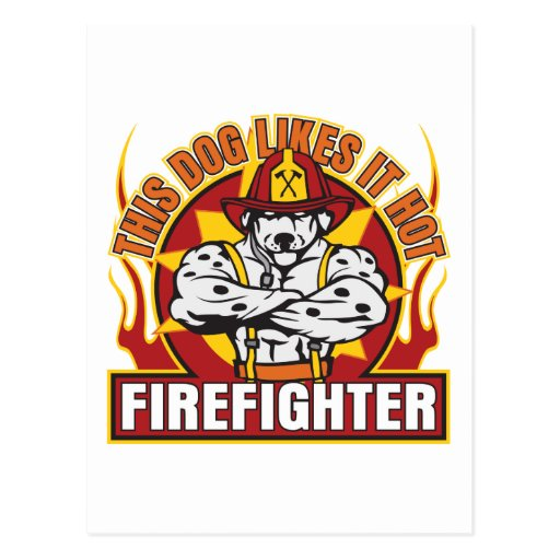 Firefighter Likes it Hot Postcards