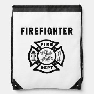 Firefighter Logo Drawstring Backpacks