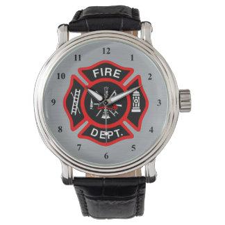 Firefighter Maltese Cross Symbol   Fire Dept Badge Wrist Watch