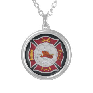 Firefighter necklace in red, gold, black