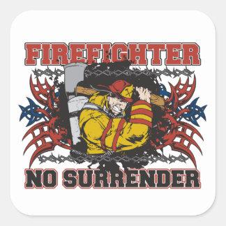 Firefighter No Surrender Square Sticker
