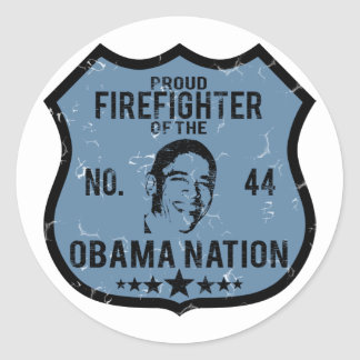 Firefighter Obama Nation Classic Round Sticker