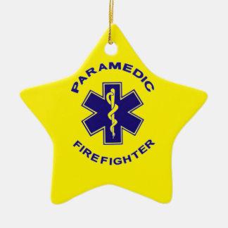 Firefighter Paramedic Ceramic Star Ornament