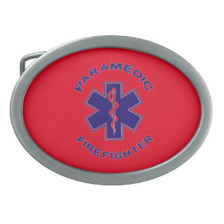 Firefighter Paramedic Oval Belt Buckle
