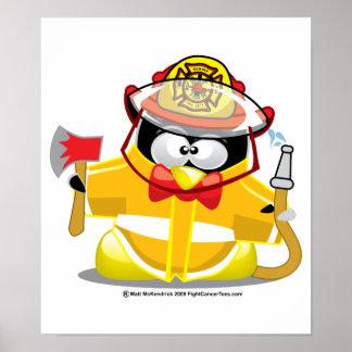 Firefighter Penguin Poster