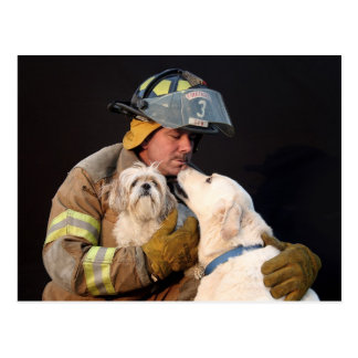 Firefighter rescue postcard