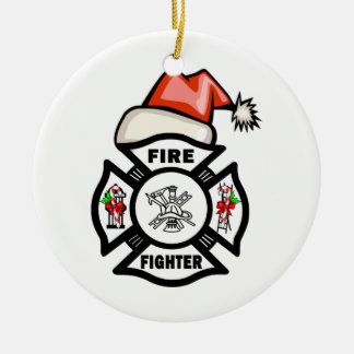 Firefighter Santa Claus Round Ceramic Ornament