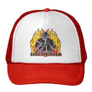 Firefighter Silhouette Mesh Hats