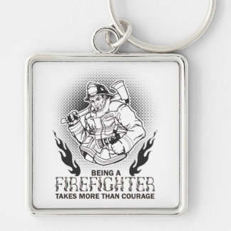 Firefighter Silver-Colored Square Keychain