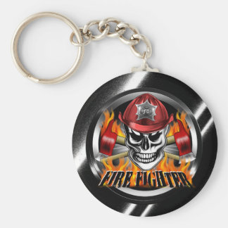 Firefighter Skull 4 and Flaming Axes Basic Round Button Keychain